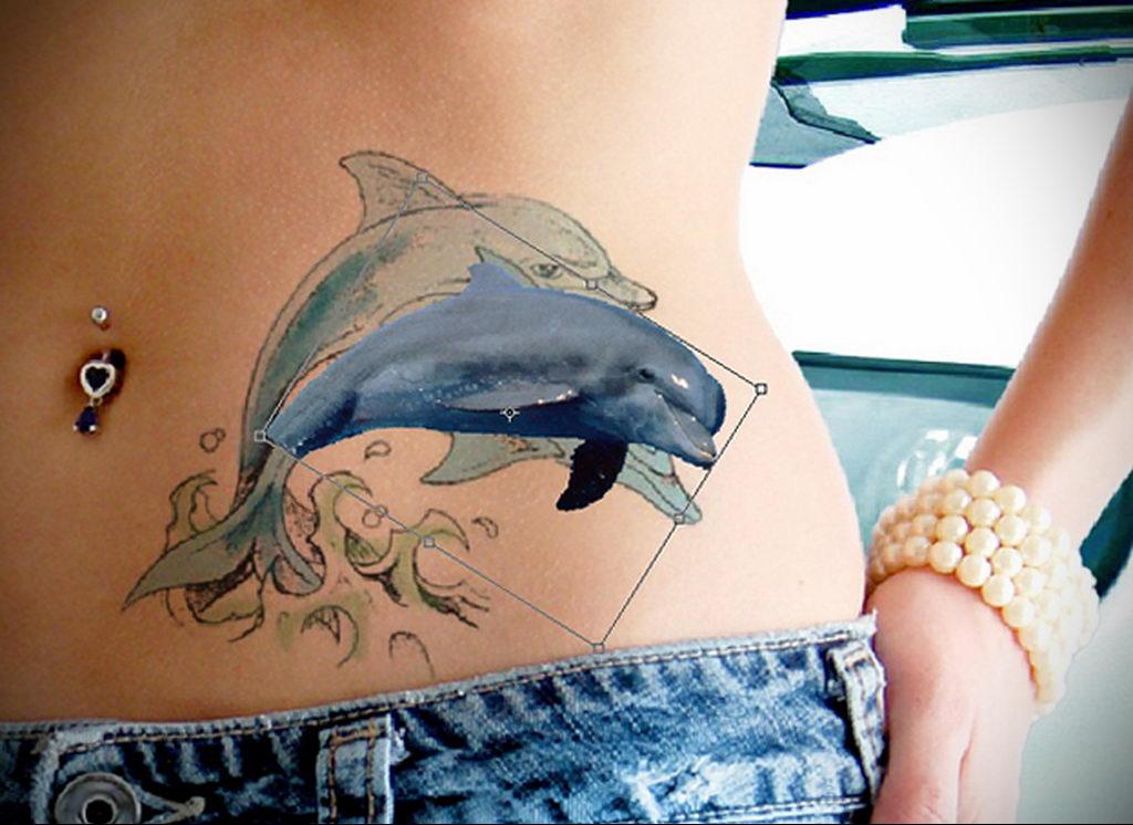 Фото тату про любовь рисунок Дельфин 03.02.2020 №093 -dolphin tattoo- tatufoto.com