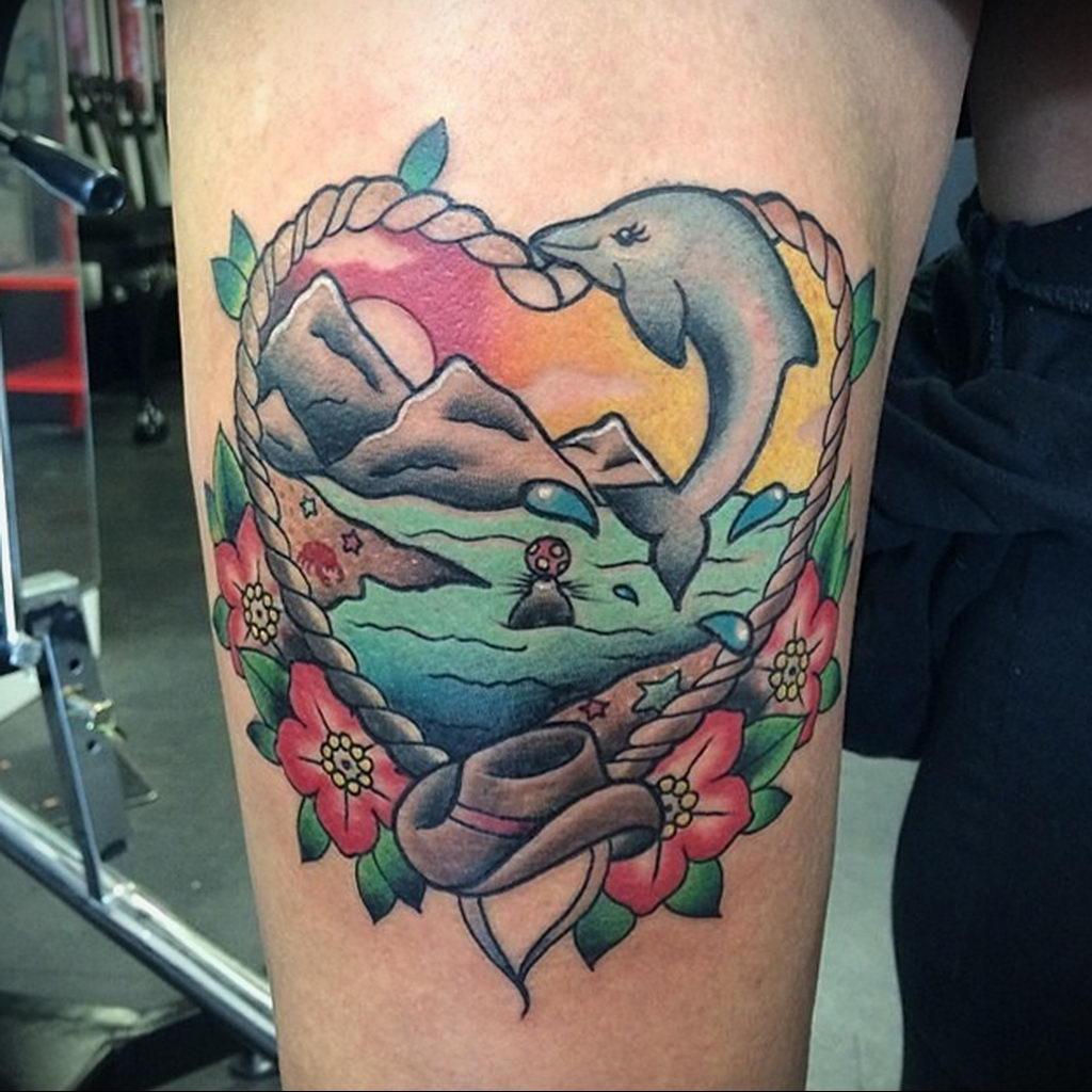 Фото тату про любовь рисунок Дельфин 03.02.2020 №115 -dolphin tattoo- tatufoto.com