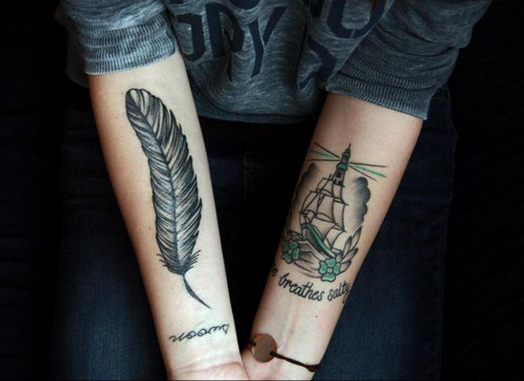 Фото тату про любовь рисунок Перо 03.02.2020 №184 -tattoo feather- tatufoto.com