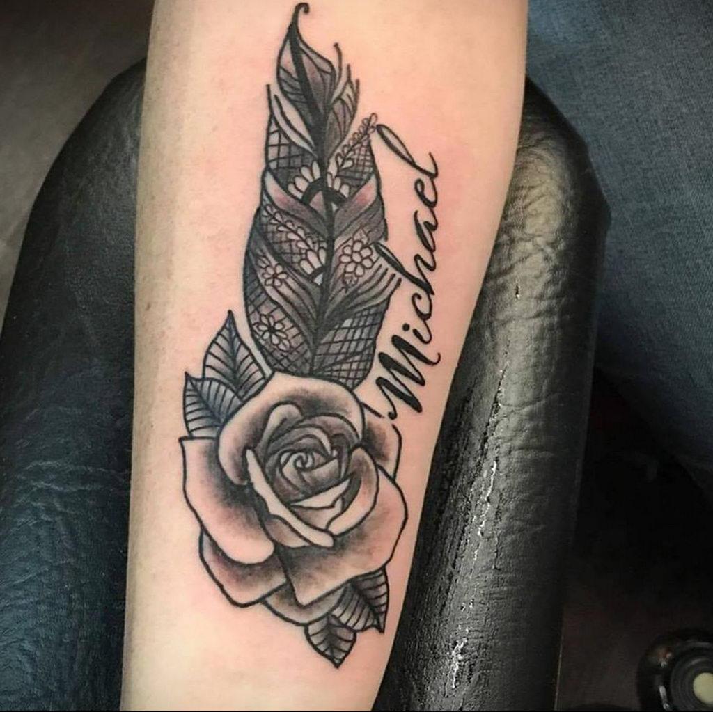 Фото тату про любовь рисунок Перо 03.02.2020 №198 -tattoo feather- tatufoto.com