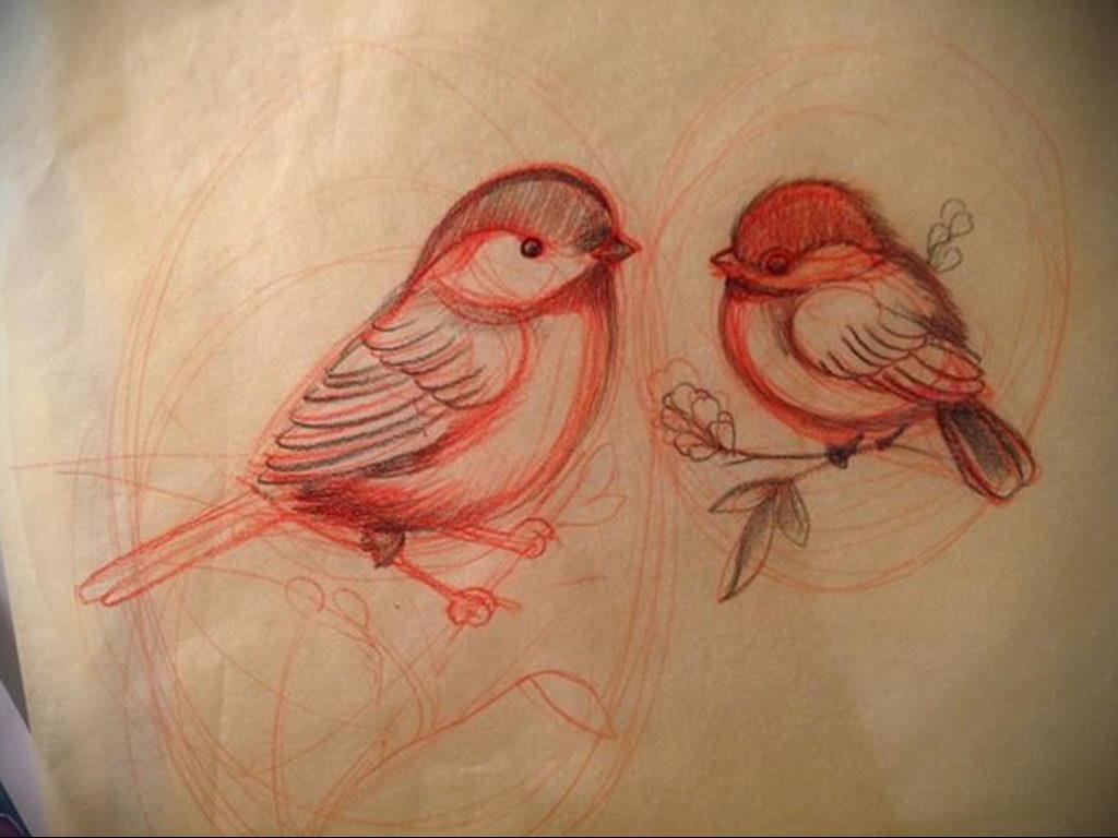 Фото тату про любовь рисунок Птица 03.02.2020 №025 -bird tattoo- tatufoto.com