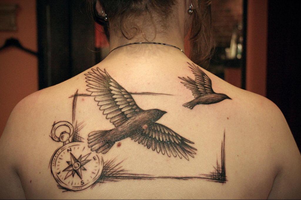 Фото тату про любовь рисунок Птица 03.02.2020 №029 -bird tattoo- tatufoto.com