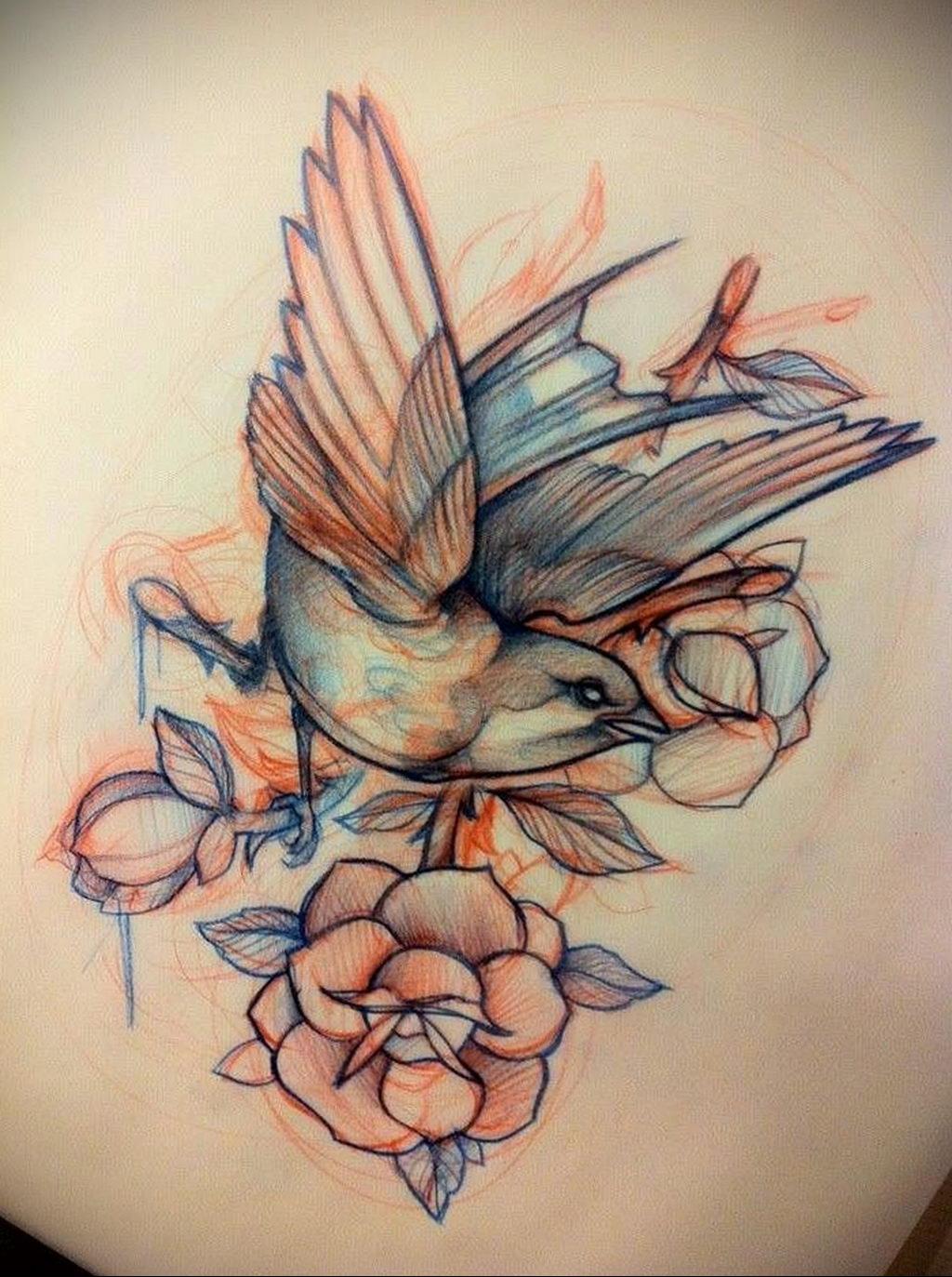 Фото тату про любовь рисунок Птица 03.02.2020 №034 -bird tattoo- tatufoto.com
