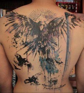 Фото тату с ангелом на спине 12.03.2020 №013 -angel tattoo on the back- tatufoto.com