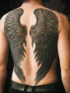 Фото тату с ангелом на спине 12.03.2020 №014 -angel tattoo on the back- tatufoto.com