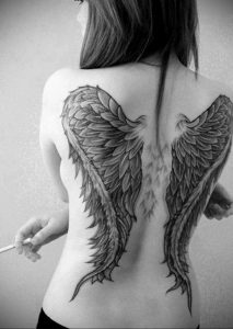 Фото тату с ангелом на спине 12.03.2020 №015 -angel tattoo on the back- tatufoto.com