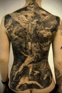 Фото тату с ангелом на спине 12.03.2020 №025 -angel tattoo on the back- tatufoto.com