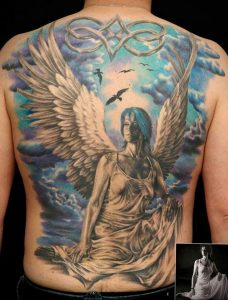Фото тату с ангелом на спине 12.03.2020 №026 -angel tattoo on the back- tatufoto.com
