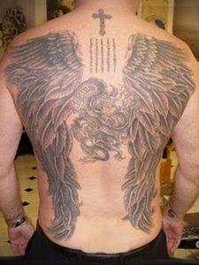 Фото тату с ангелом на спине 12.03.2020 №030 -angel tattoo on the back- tatufoto.com