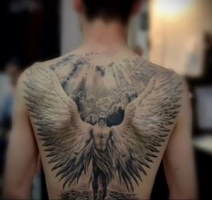 Фото тату с ангелом на спине 12.03.2020 №031 -angel tattoo on the back- tatufoto.com