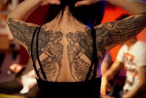 Фото тату с ангелом на спине 12.03.2020 №036 -angel tattoo on the back- tatufoto.com
