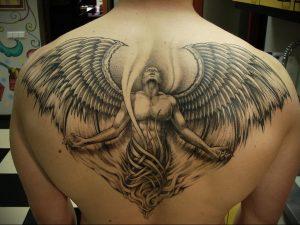 Фото тату с ангелом на спине 12.03.2020 №038 -angel tattoo on the back- tatufoto.com