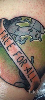 Фото татуировки з планетой Земля 22.04.2020 №090 -planet earth tattoo- tatufoto.com