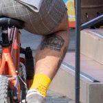 Татуировка с надписью на правой икре парня - Уличная татуировка (Street tattoo) № 03 – 11.05.2020 для tatufoto.com 2