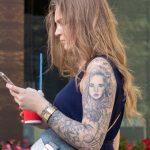 Татуировка с портретом в рукаве на левой руке девушки - - Уличная татуировка (Street tattoo) № 03 – 11.05.2020 для tatufoto.com 3