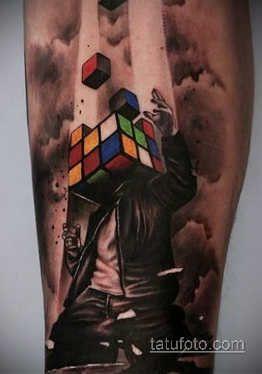 Фото Татуировки с Кубиком Рубика 16.05.2020 №053 -Rubik Cube Tattoo- tatufoto.com