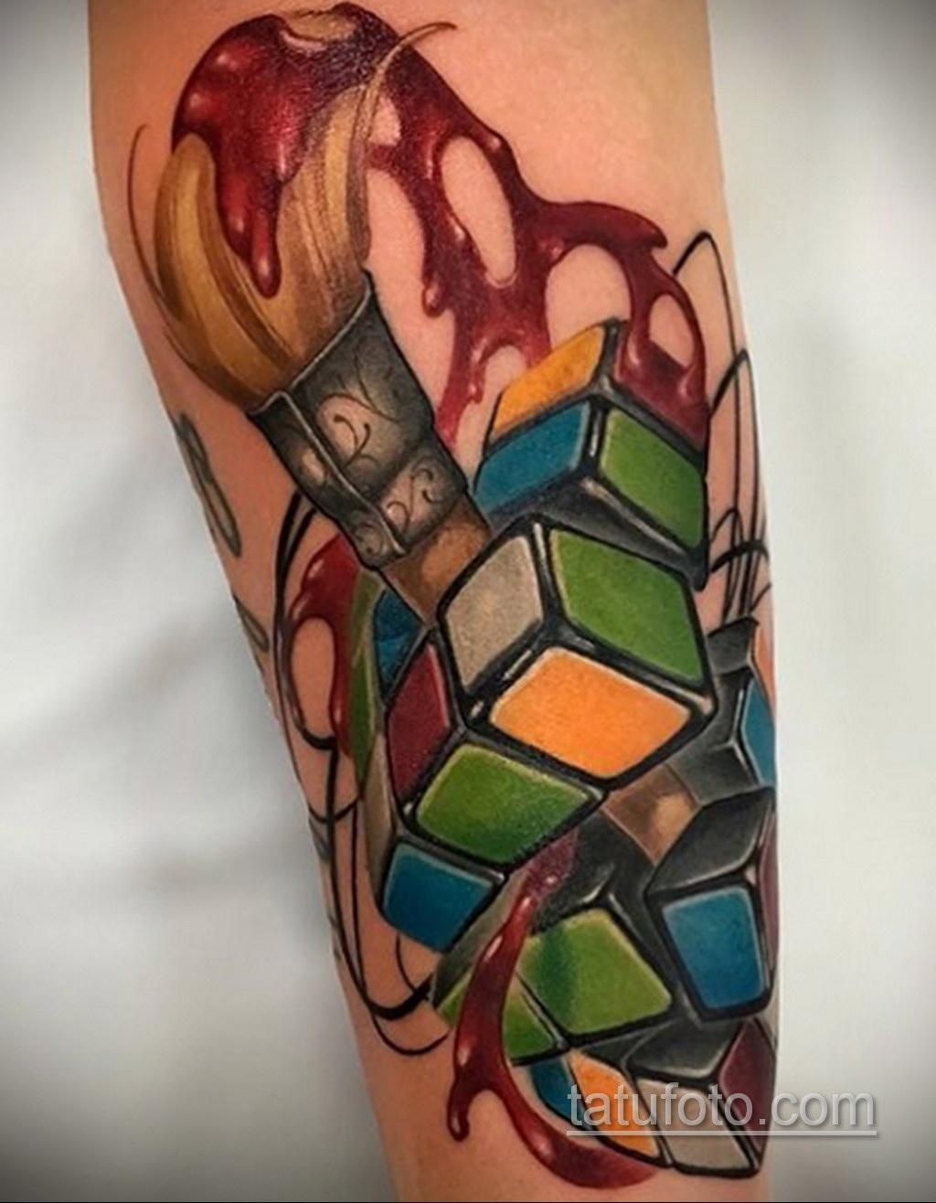 Фото Татуировки с Кубиком Рубика 16.05.2020 №055 -Rubik Cube Tattoo- tatufoto.com