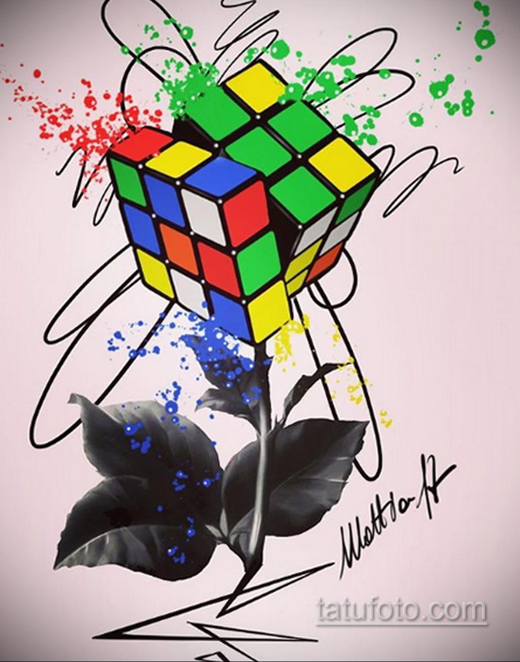 Фото Татуировки с Кубиком Рубика 16.05.2020 №070 -Rubik Cube Tattoo- tatufoto.com