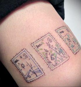 Фото татуировки с почтовой маркой 01.05.2020 №011 -postage stamp tattoo- tatufoto.com