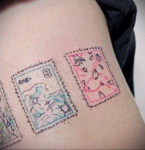 Фото татуировки с почтовой маркой 01.05.2020 №012 -postage stamp tattoo- tatufoto.com