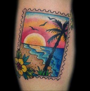 Фото татуировки с почтовой маркой 01.05.2020 №056 -postage stamp tattoo- tatufoto.com