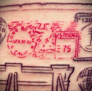 Фото татуировки с почтовой маркой 01.05.2020 №058 -postage stamp tattoo- tatufoto.com