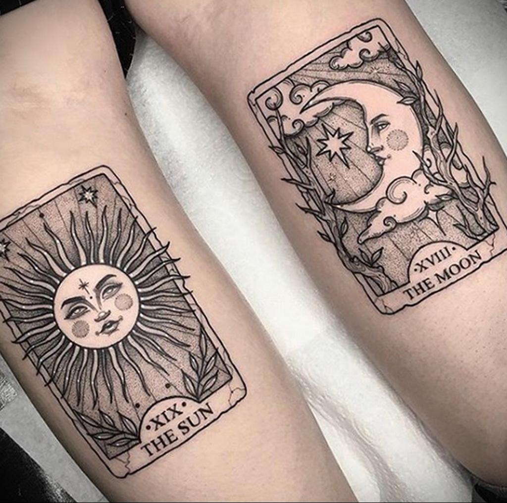 Фото татуировки с солнцем 02.05.2020 №002 -sun tattoo- tatufoto.com