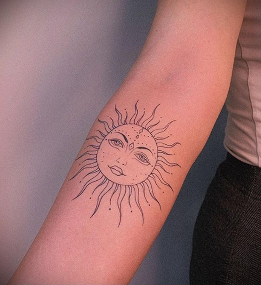 Фото татуировки с солнцем 02.05.2020 №003 -sun tattoo- tatufoto.com