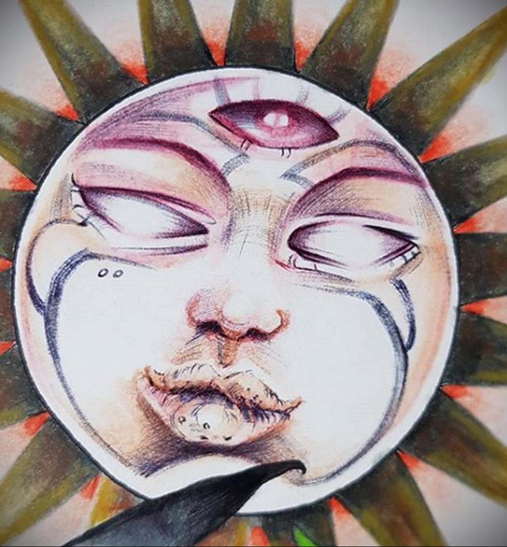 Фото татуировки с солнцем 02.05.2020 №014 -sun tattoo- tatufoto.com