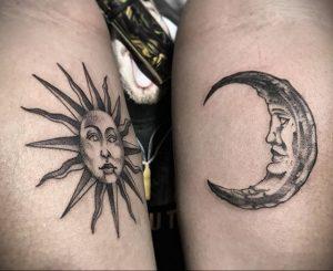 Фото татуировки с солнцем 02.05.2020 №059 -sun tattoo- tatufoto.com
