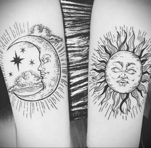 Фото татуировки с солнцем 02.05.2020 №065 -sun tattoo- tatufoto.com