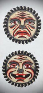 Фото татуировки с солнцем 02.05.2020 №076 -sun tattoo- tatufoto.com