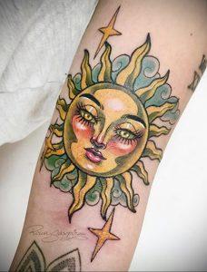 Фото татуировки с солнцем 02.05.2020 №078 -sun tattoo- tatufoto.com