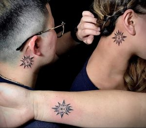 Фото татуировки с солнцем 02.05.2020 №090 -sun tattoo- tatufoto.com
