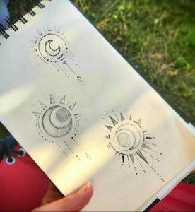 Фото татуировки с солнцем 02.05.2020 №094 -sun tattoo- tatufoto.com