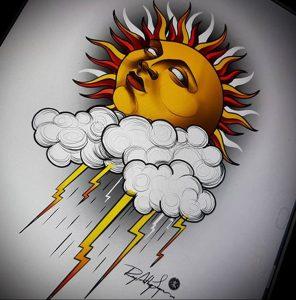Фото татуировки с солнцем 02.05.2020 №121 -sun tattoo- tatufoto.com