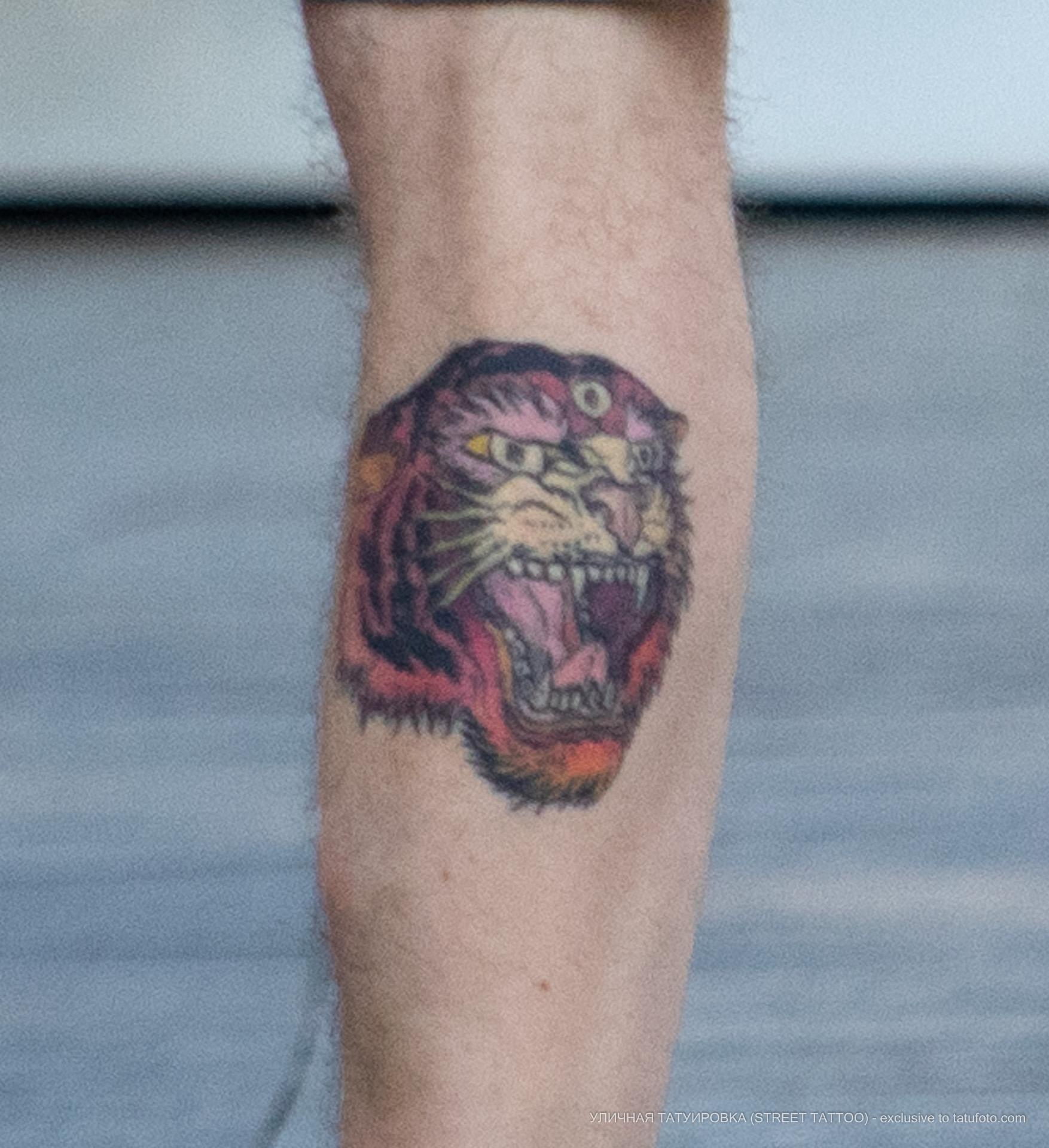 Тату с тигром у которого три глаза на ноге парня – Уличная татуировка (street tattoo) № 06 – 18.06.2020 – tatufoto.com 2