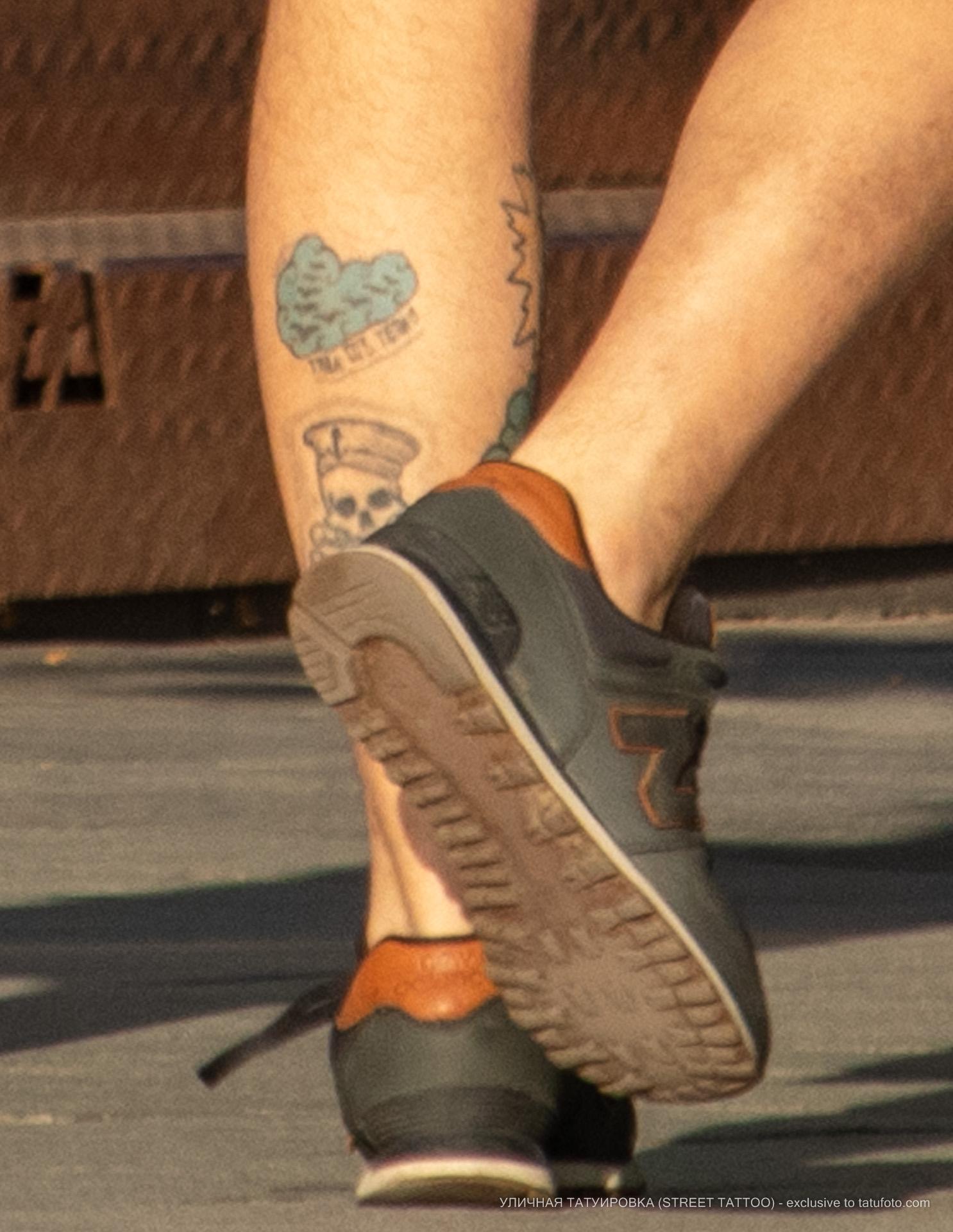 Тату с черепом и тучами на ноге парня – Уличная татуировка (street tattoo) № 06 – 18.06.2020 – tatufoto.com 3