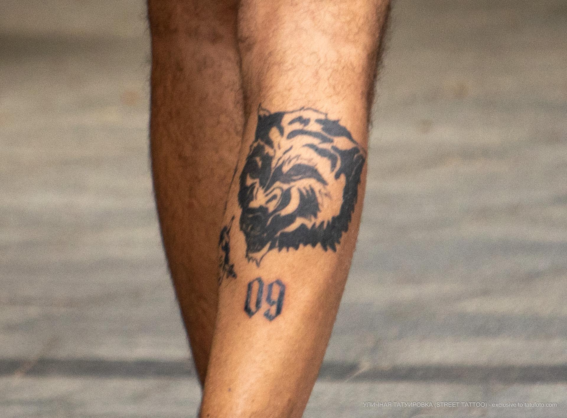 Фото неудачной тату с волком и цифрой 09 на ноге парня - Уличная татуировка (street tattoo) № 06 – 18.06.2020 – tatufoto.com 3