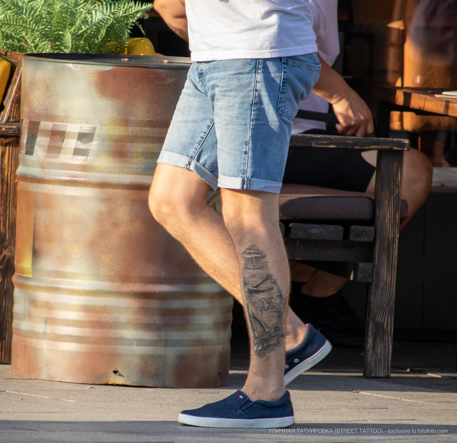 Фото татуировки с Витрувианским человеком и чертежами изобретений Леонардо да Винчи – Уличная татуировка (street tattoo) № 06 – 18.06.2020 – tatufoto.com 1