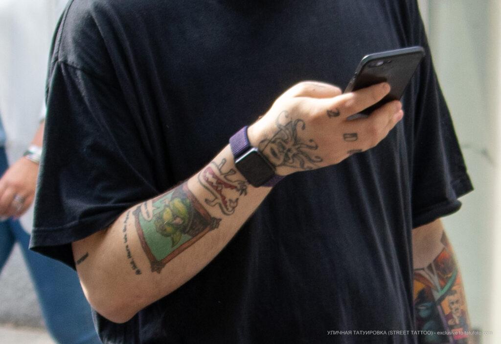 Фото тату с зеленым гоблином из варкрафт на руке парня – Уличная татуировка (Street tattoo) № 05 – 15.06.2020 для tatufoto.com 6