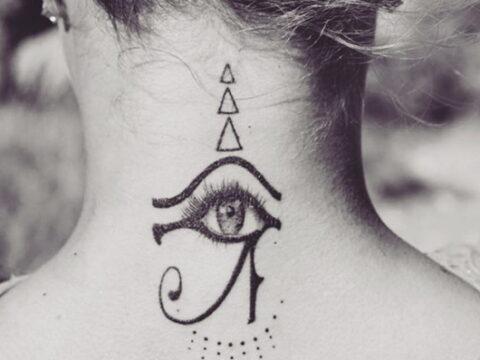 Хейден Панеттьер сделала новую татуировку сзади на шее с Глазом Бога Ра = фото