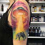 Фото татуировки с НЛО - пришельцами 02.07.2020 №149 -UFO tattoo- tatufoto.com