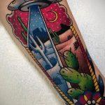 Фото татуировки с НЛО - пришельцами 02.07.2020 №161 -UFO tattoo- tatufoto.com