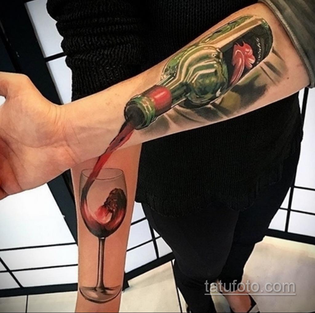 Фото татуировки с вином 02.07.2020 №032 -wine tattoo- tatufoto.com