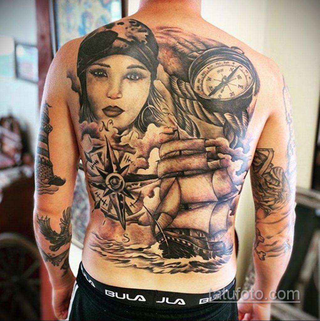 Фото татуировки с кораблем 07.07.2020 №016 -ship tattoo- tatufoto.com