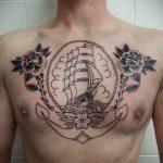 Фото татуировки с кораблем 07.07.2020 №077 -ship tattoo- tatufoto.com