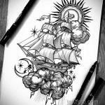 Фото татуировки с кораблем 07.07.2020 №080 -ship tattoo- tatufoto.com