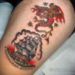 Фото татуировки с кораблем 07.07.2020 №081 -ship tattoo- tatufoto.com