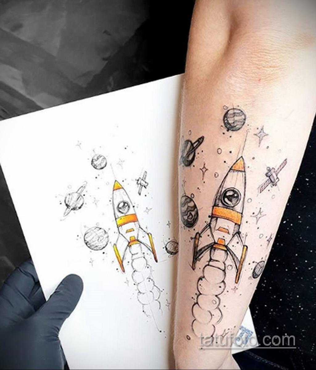Фото татуировки с ракетой 08.07.2020 №005 -rocket tattoo- tatufoto.com